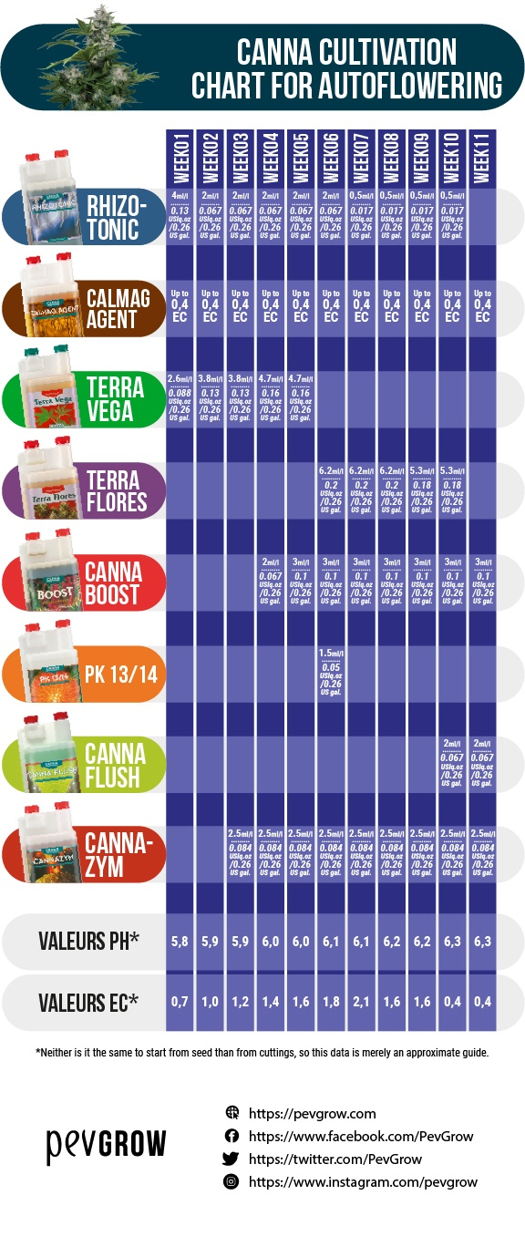 Dosage table of Canna products for growing auto-flowering cannabis plants and ideal pH and EC values